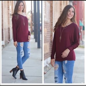 BURGUNDY V NECK DOLMAN LONG SLEEVE TUNIC